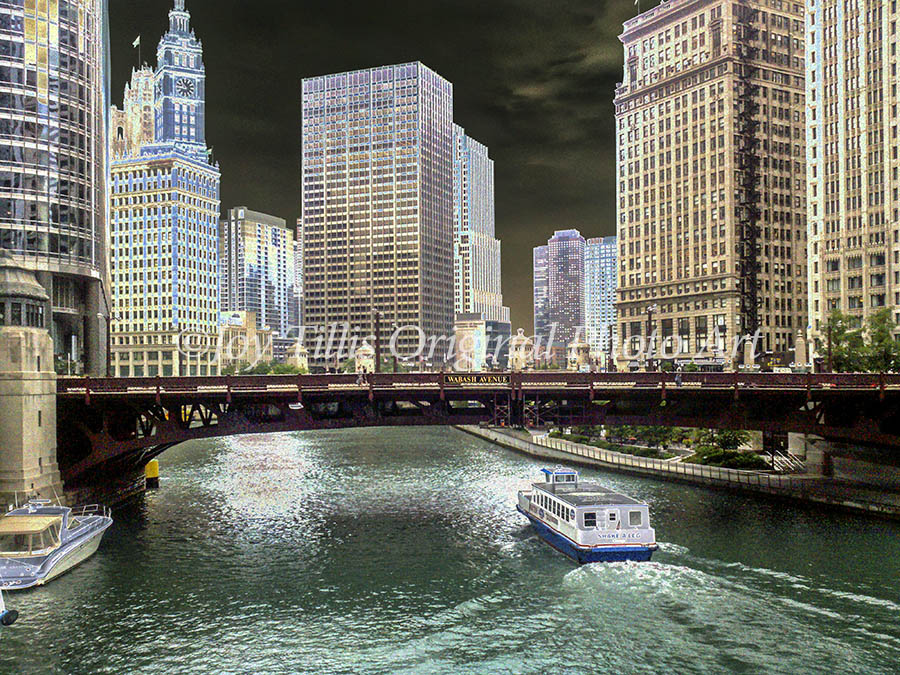 Chicago River East View from the Michigan Avenue Bridge.
